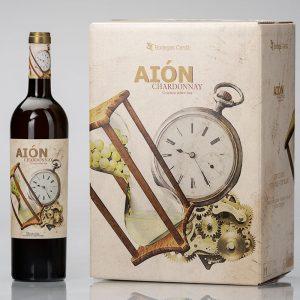 caja de botellas de vino aión